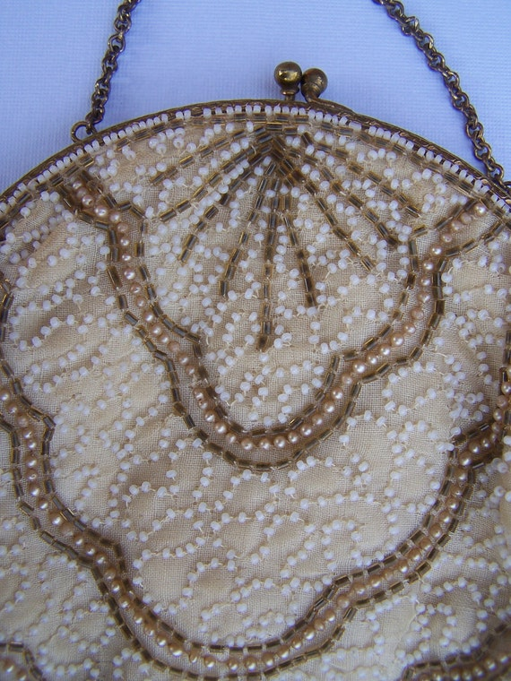 Beautiful Antique Beaded White and Gold Purse