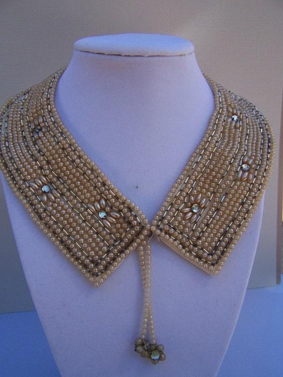 Vintage Beaded Pearl Rhinetone Collar