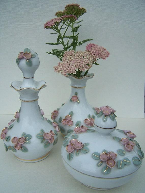 Vintage Perfume Bottles Lefton Vanity Set Shabby Chic Home