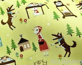 """Brave little red riding hood with big bad wolf  - half yard - cotton - 2 colors, Check out with code """"sale15"""" to save 15% off"""