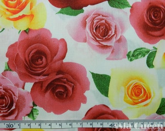 """Cotton fabric - Blooms rose floral flower  - half yard - 2 colors - floral fabric, Check out with code """"5YEAR"""" to save 20% off"""