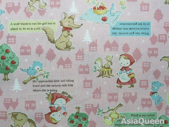 Fairy tale - The little red and riding hood picnic - beige - 1 yard - cotton linen