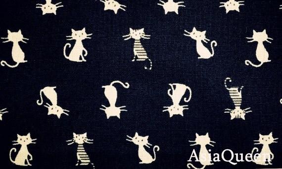 Single cats dark blue 1 yard cotton linen