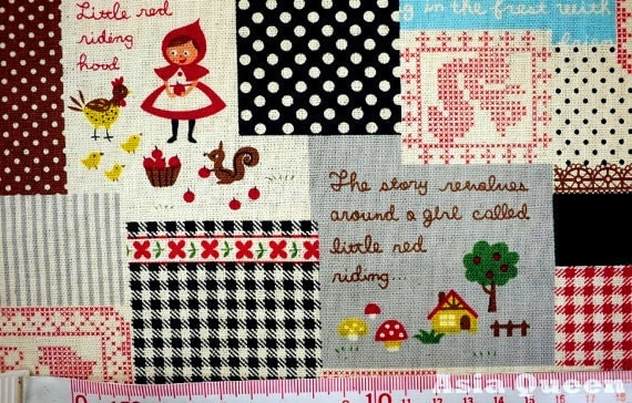 Custom list Fairy tale - Little red riding hood check square - red - 4.3 yards - cotton linen