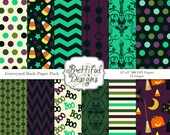 Halloween Digital Paper Pack  for Scrapbooking, Invitations, Card Making, Commercial Use  - Graveyard Bash