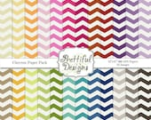 Chevron Digital Scrapbooking Printable Pattern Paper Pack Instant Download Chevron Set 1
