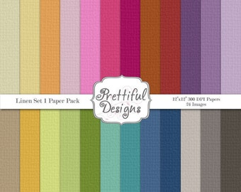 Linen Solid Digital Paper Pack  - Personal and Commercial Use - Linen Set 1