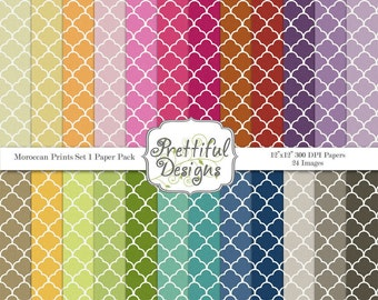 Moroccan Prints Digital Paper Pack  - Personal and Commercial Use - Set 1