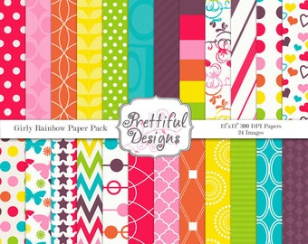 Digital Paper Pack  - Personal and Commercial Use - Girly Rainbow