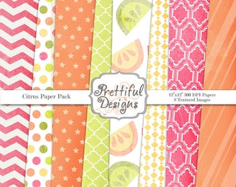 Textured Digital Paper Pack  - Personal and Commercial Use - Citrus