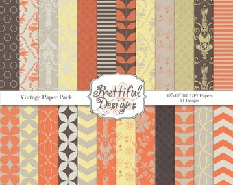 Digital Paper Pack  - Personal and Commercial Use -Vintage