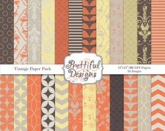 Vintage Digital Paper Pack  - Personal and Commercial Use - Vintage Background