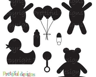Baby Silhouette Clip Art Teddy Bear Clip Art Duck Pacifier Rattle Bottle