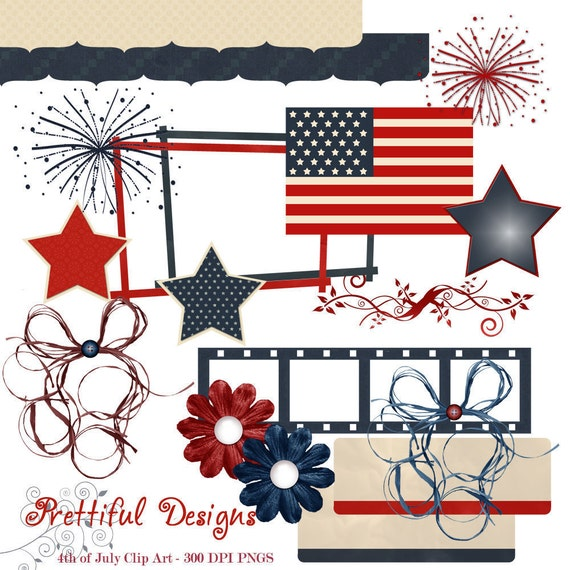 4th of July Clip Art Patriotic America USA Digital Scrapbooking Clipart (278)