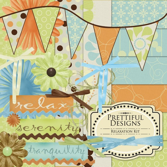 Digital Scrapbook Collection Commercial and Personal Use - Relaxation
