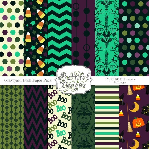 40% Off SALE Halloween Digital Paper Pack  for Scrapbooking, Invitations, Card Making, Commercial Use  - Graveyard Bash (357)