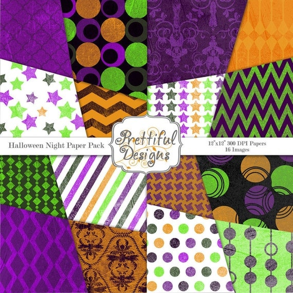 40% Off SALE Halloween Digital Paper Pack  for Scrapbooking, Invitations, Card Making, Commercial Use  - Halloween Night (355)