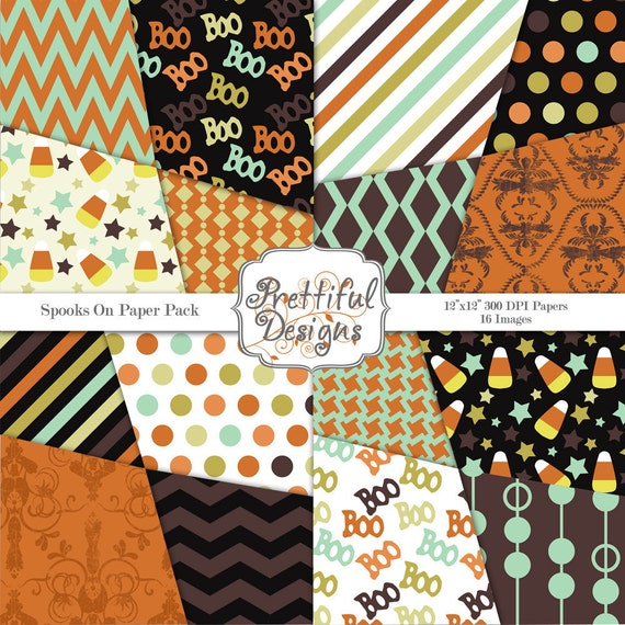 40% Off SALE Halloween Digital Paper Pack - Spooks On (364)