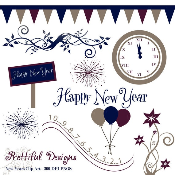 Items similar to New Years Clip Art Set 2 - Personal or ...