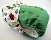 SALE - One Size Cloth Diaper - Beep Beep Cars Embellished Waist on Green PUL with Snaps and Welt Pocket Opening in Microchamois