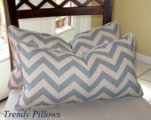Soft Chambray Blue and Natural Chevron Lumbar Pillow Cover