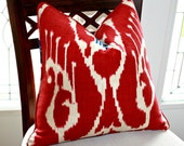 Ikat Pillow Cover Covington Magnificat in Blue and Red
