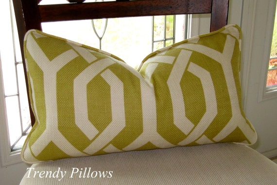 P. Kaufmann's Slick Trellis in Chartreuse Lumbar Pillow Cover to fit a 12x20 Pillow Insert