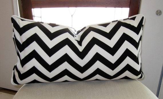 black and white chevron lumbar pillow cover decorative pillow. Black Bedroom Furniture Sets. Home Design Ideas