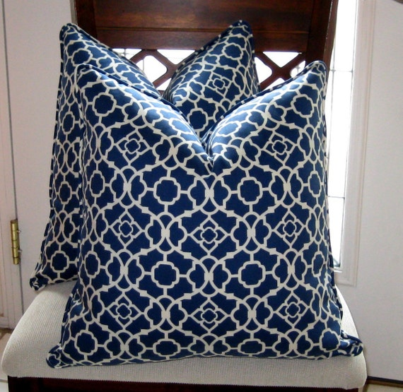 Waverly Lovely Lattice in Lapis Blue Pillow Cover