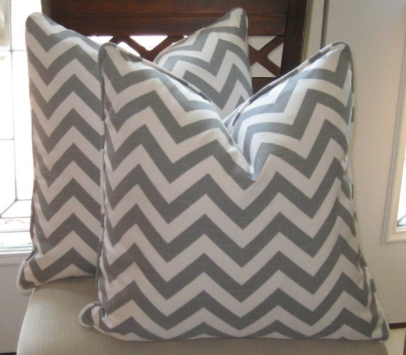 Ash Gray and White Pillow Cover
