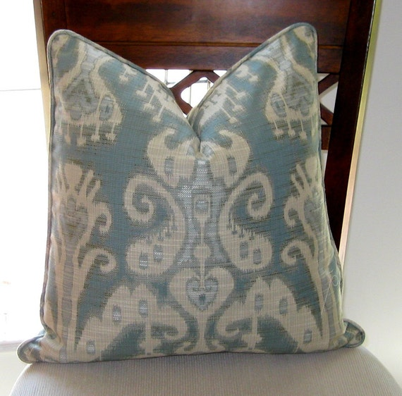 Ikat Pillow Cover from Kravet in Seaglass Blue