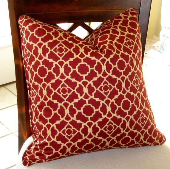 ON SALE Waverly Lovely Lattice in Crimson and Tan Pillow Cover