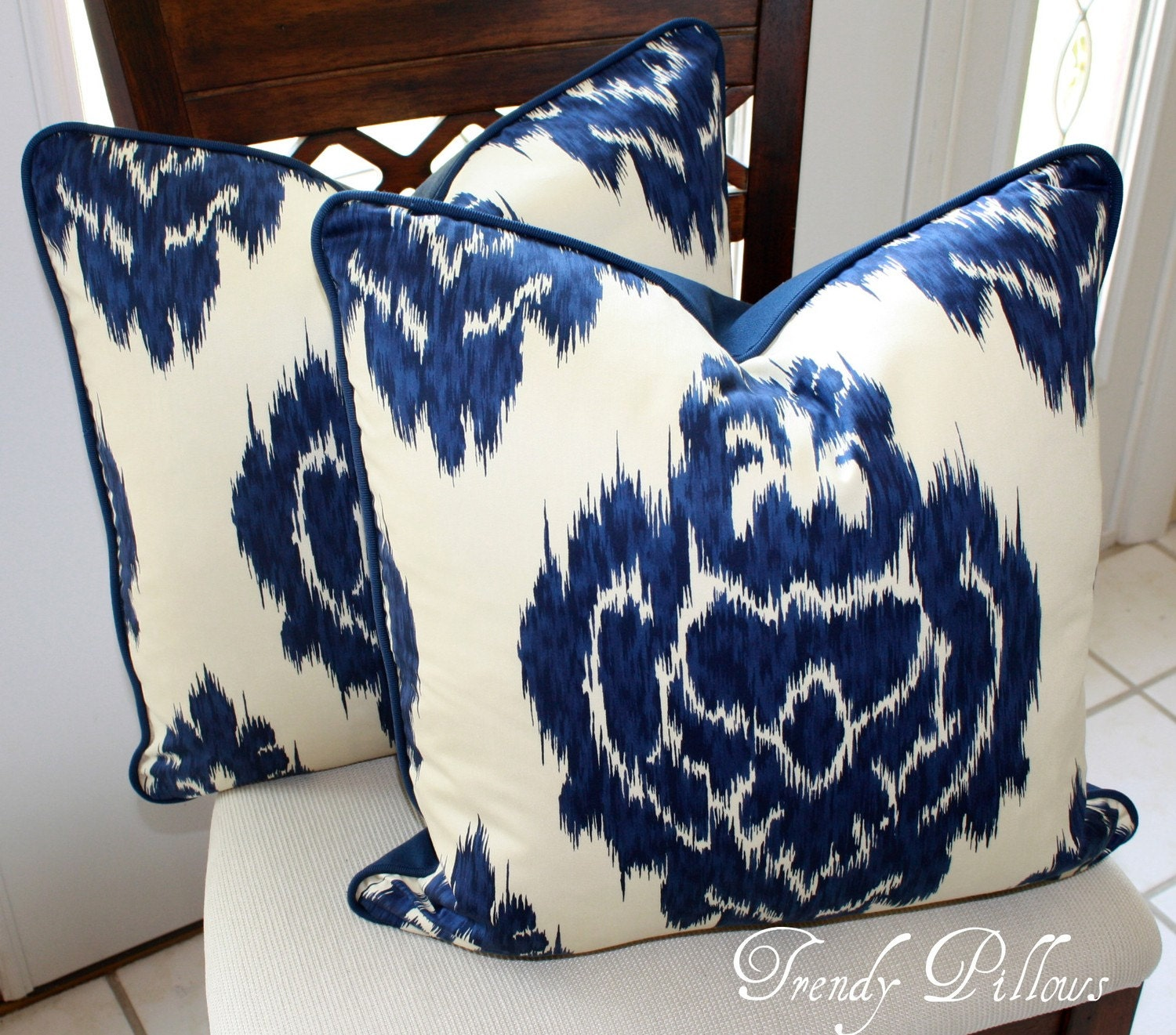 Duralee Blue Ikat Pillow Cover