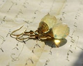 Golden Wire Wrapped Teardrop Crystal in Light Gold Color Earrings