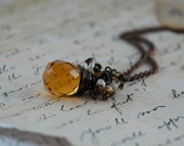 Antiqued Copper Wire Wrapped Citrine Topaz Amber Color Drop Crystal Necklace with Little Glass Beads