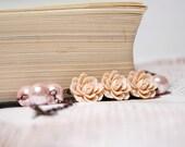 SALE Was 20, Now 15 Powder Pink Cabochon Rose Vintage Floral Bracelet