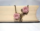 Dusty Pink Cabochon Rose Vintage Floral Necklace