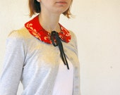 Detachable Red and Black Satin Floral Fabric Peter Pan Collar