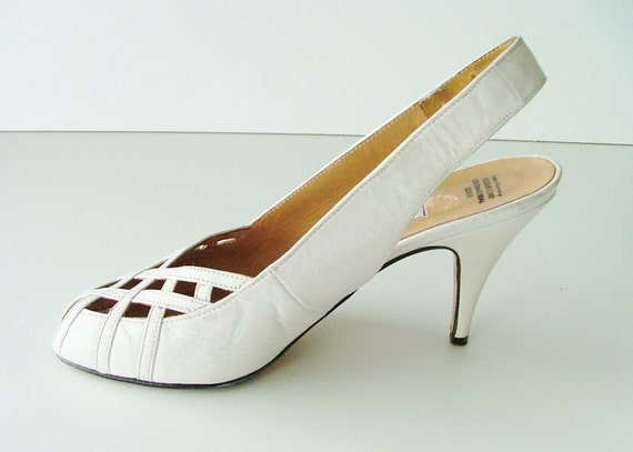 sale 80s white peep toe shoes prom by