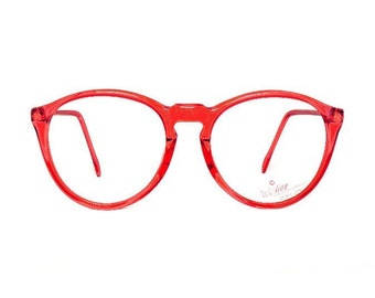 Red Round Vintage Eyeglasses - transparent 80s Glasses - eyeglass frames
