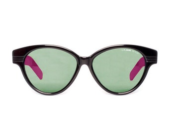 large vintage sunglasses - black pink wayfarer sunglasses - la gear 50s style sun glasses made in the 80s - hipster - deadstock