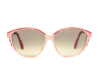 pink vintage sunglasses - striped transparent sunglasses for women - original 1980s large womens sun glasses