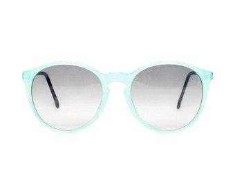 Blue / Black Round Vintage Sunglasses - Samba celeste glace