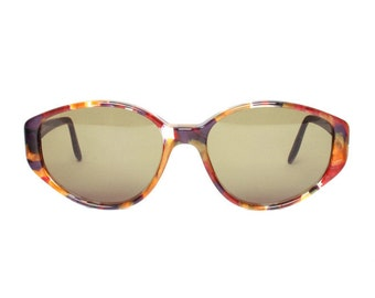vintage oval sunglasses with orange / pink / purple marbled pattern - luxury gift for women - glenda cardinal