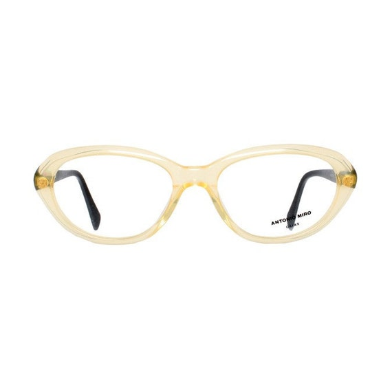 vintage transparent eyeglasses - oval clear frame glasses for women - two tone with slight cateye - new old stock - Antonio Miro champagne