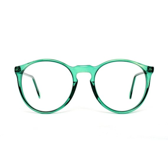 Green transparent Round Vintage Eyeglasses