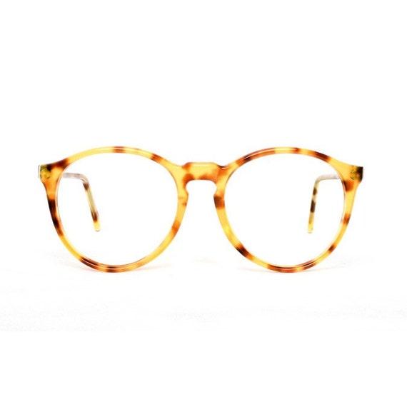 Brown Tortoise Transparent Vintage Eyeglasses - Pastel - Round glasses original 1980's