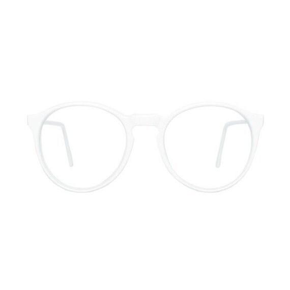 white round glasses frames - vintage solid white eyeglasses - original 80s eyewear - MOD vintage shop - Jogging Blanco