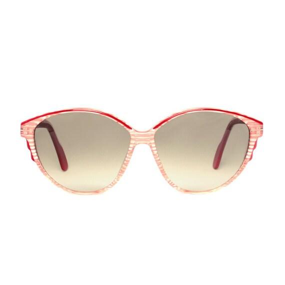 pink vintage sunglasses - striped transparent sunglasses for women - original 1980s large womens sun glasses
