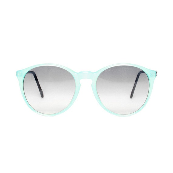 vintage blue round sunglasses - small sun glasses for women child teenager & large oversized sunglasses - available in size L and XS